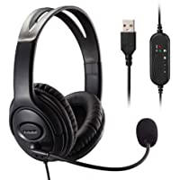 MKTBA Auriculares para Ordenador, Auriculares para PC, Auriculares USB Ultra cómodos con micrófono con cancelación de…