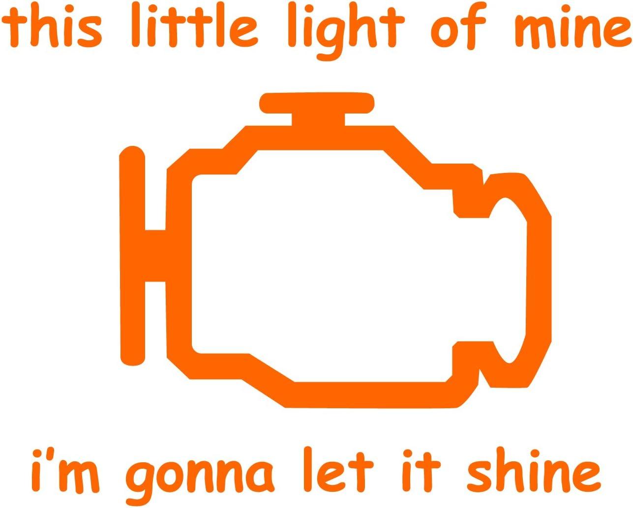 "Check Engine Light - Orange 5"" Vinyl Decal for Car, Macbook, or Other Laptop"