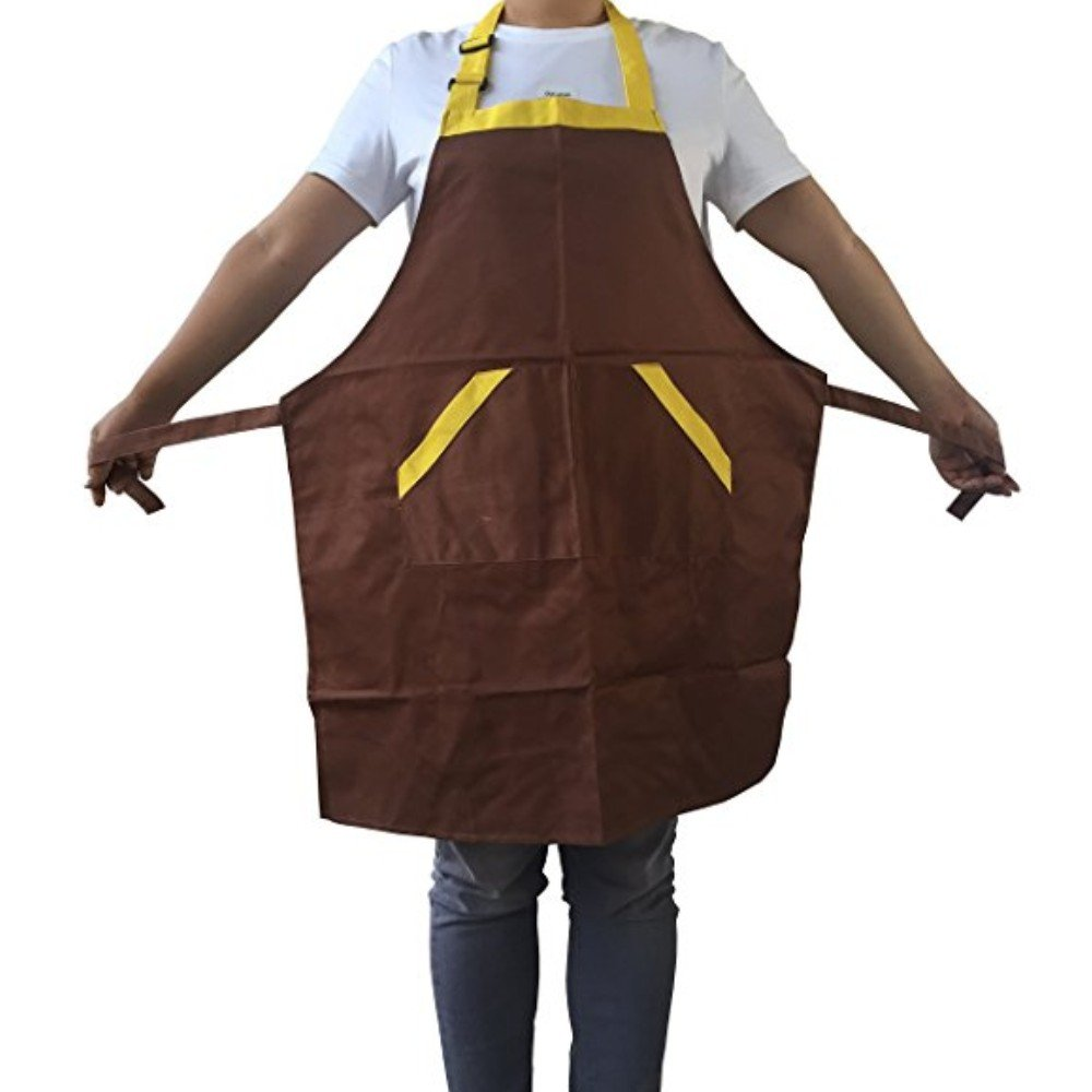 Novo Waterproof Work Apron Chef Apron with Pockets Polyester Cotton Garden Tool Apron, 28-Inchx26-Inch (Coffee) for Working,Gardening,Kicthen Cooking,Harvest,Coffee Shop