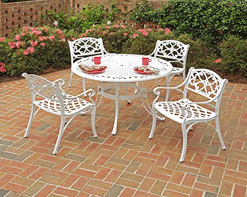 - Patio Dining Set. 5 Piece Modern Outdoor Porch, Deck, Lawn, Pool, Garden, Balcony Diner, Conversation, Seating, Bistro, Chat Aluminum Furniture Kit. Outside Round Table, Chairs