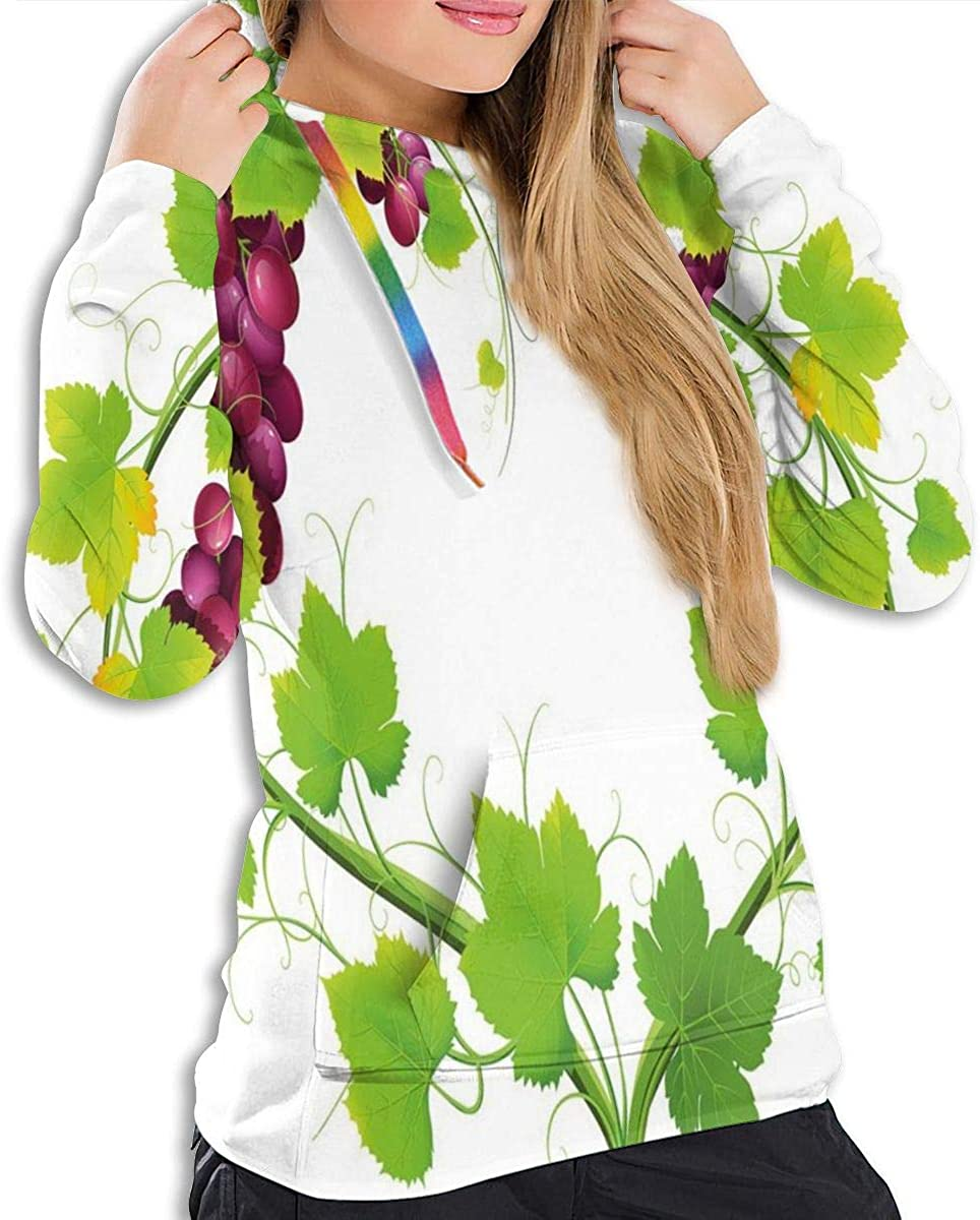 Womens Hoodie,Heart Shaped Out of Grapevine Love Nature Themed Digital Art Botany Elements Print,Lady Sweatshirt