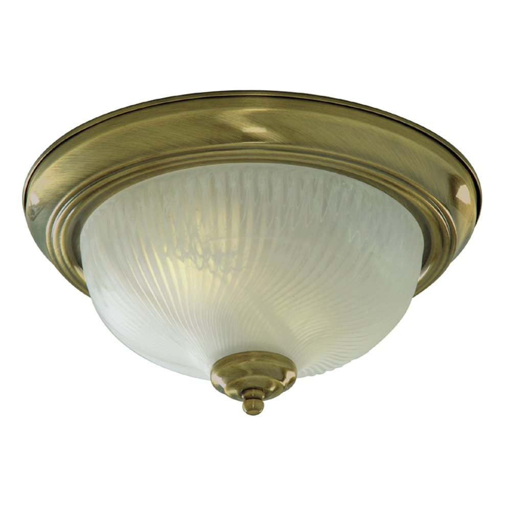 Searchlight Lighting 7622-11AB Antique Brass Finish Flush Ceiling Light with Ribbed Glass Diffuser 2 x 40 watts