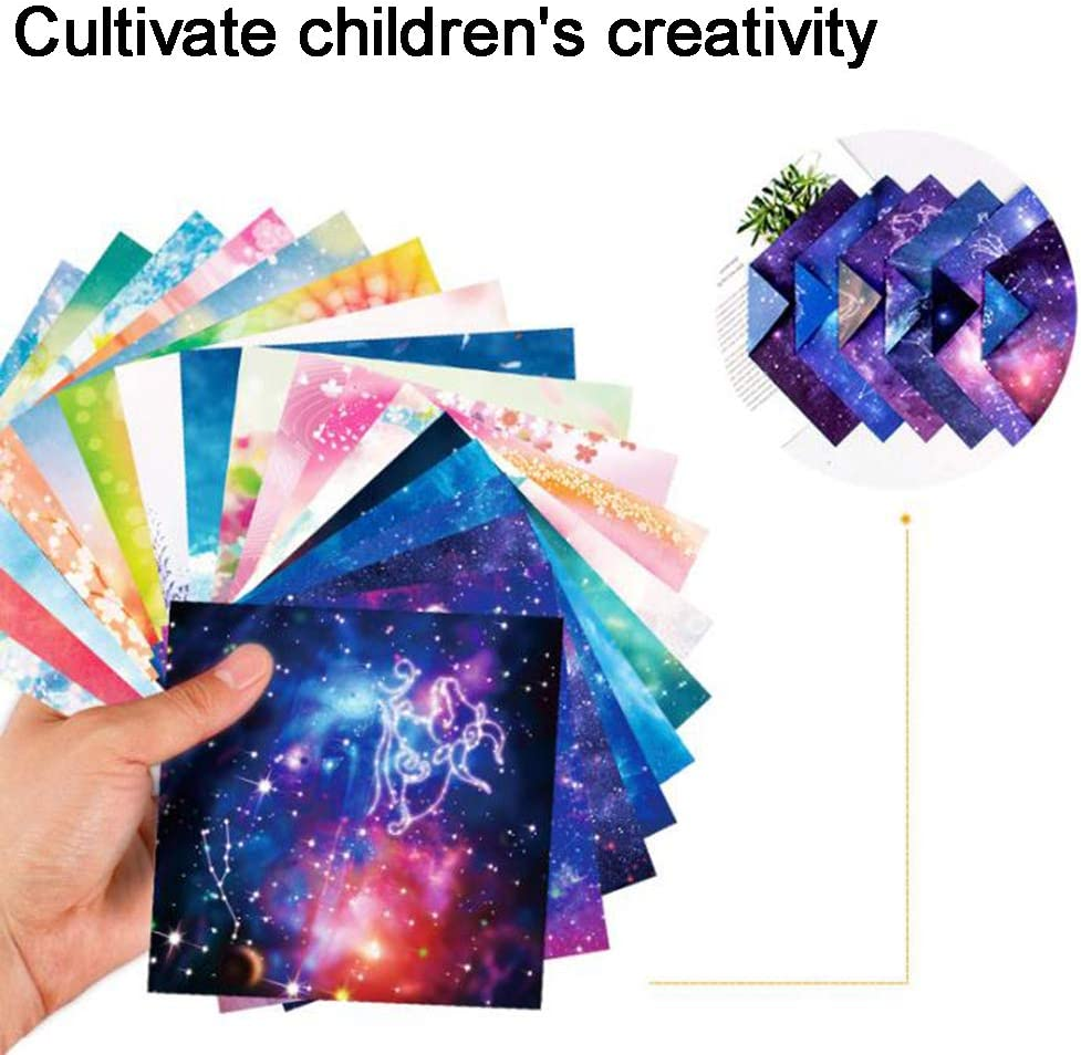 50pcs//Pack Origami Paper Galaxy Starry Sky Double Sided Square Craft Folding Paper Diy Craft Scrapbook Arts Decoration Origami For Children Starry