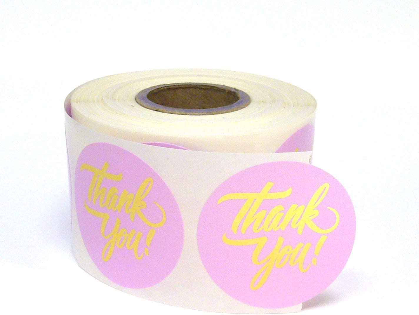 Next Day Labels 500 Thank You Stickers / for Company Promotional Items, Party Favors, Envelopes, or Business Merch / Round, 1.5 inches, Pink and Gold Foil Lettering