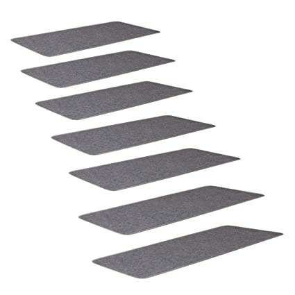 SLB Works Polypropylene Fiber Stair Treads Carpet Solid Gray, with Self-Adhesive Side Nylon Buckle Mounting, Non-Slip Carpets 9.4
