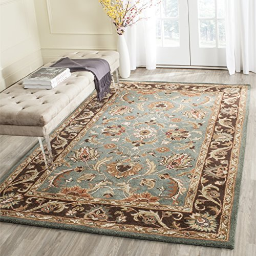 Safavieh Heritage Collection HG812B Handcrafted Traditional Oriental Blue and Brown Wool Area Rug (9'6