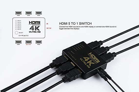 HDMI Switch 4K UHD, 5 Puertos 5x1 AV Video Switcher 5 en 1 Salida ...