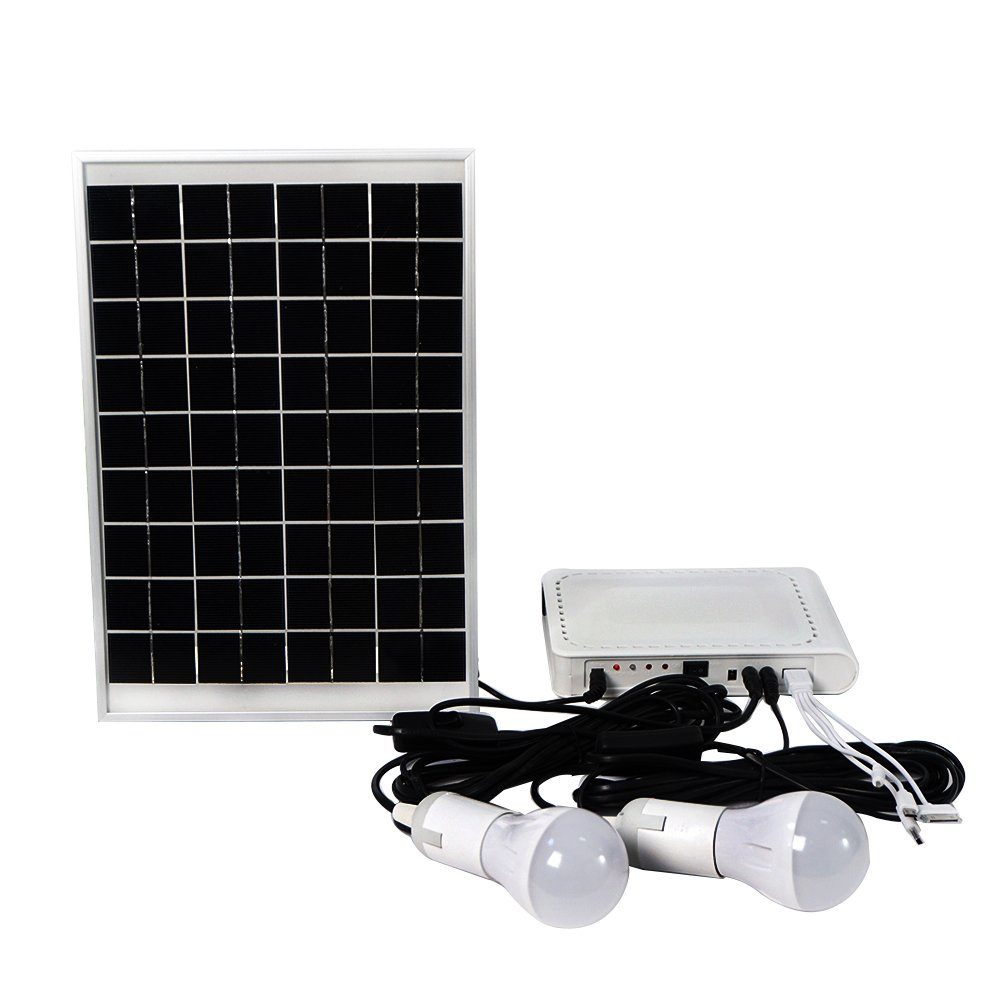 ECO-WORTHY 10W Solar Panel Powered LED Lighting System 2 LED Bulbs with USB Charger Controller for Camping Hiking Emergency Home Tent Garden by ECO-WORTHY