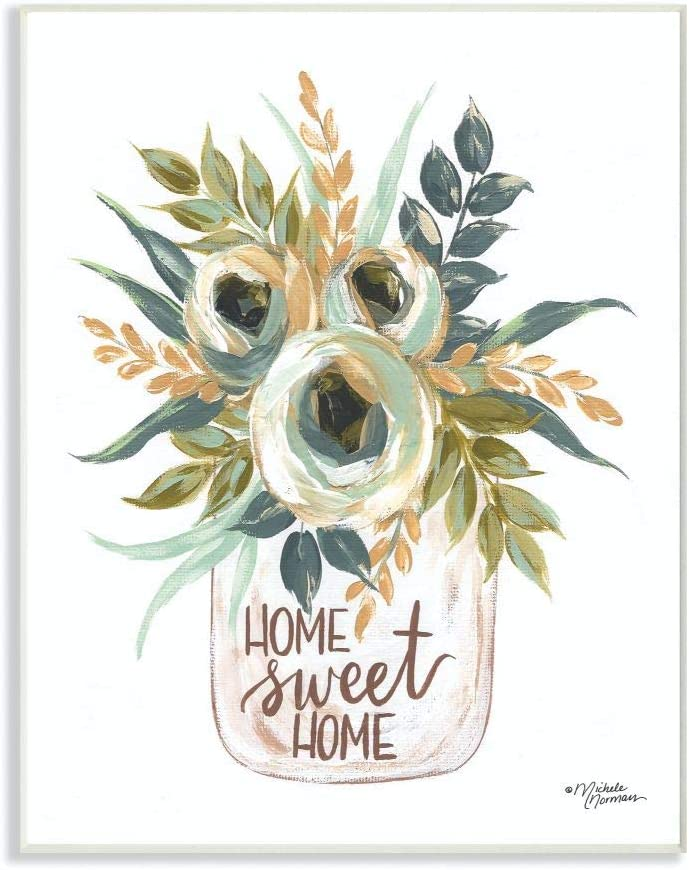 Stupell Industries Sweet Home Flowers in a Jar Painting Wall Plaque, 12 x 18, Multi-Color