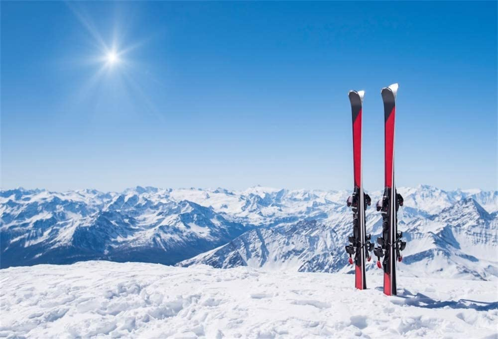 AOFOTO 6x4ft Polyester Snow Mountain Skiing Background Winter Holiday Recreation Snowy Landscape Pair of Red Skis in Snowfield Background for Photoshoot Adventure Travel Photobooth Props Washable