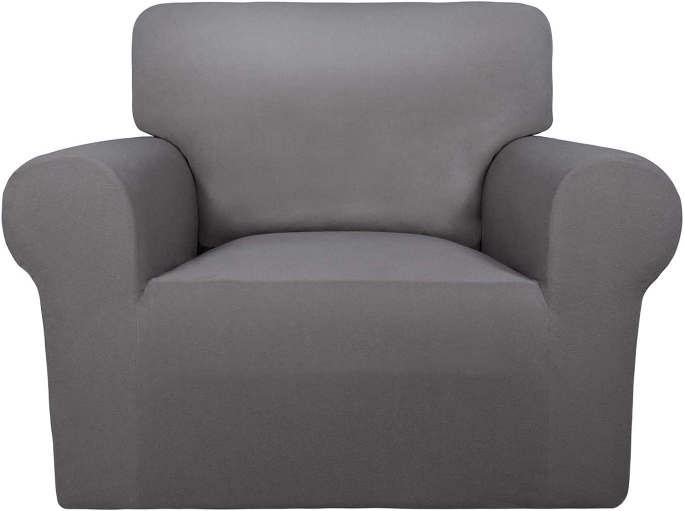 PureFit Super Stretch Chair Sofa Slipcover – Spandex Non Slip Soft Couch Sofa Cover, Washable Furniture Protector with Non Skid Foam and Elastic Bottom for Kids, Pets (Chair,Light Gray)