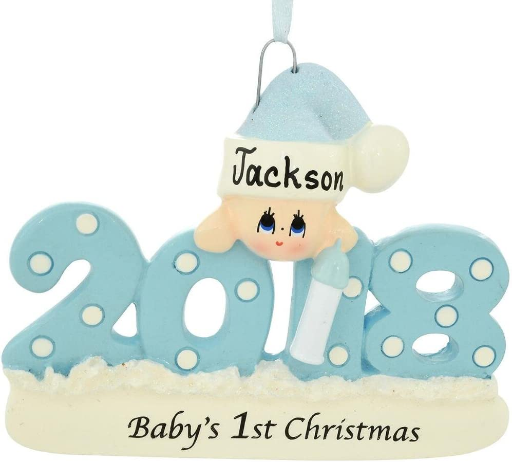 2018 Baby's 1st Christmas Ornament Personalized - Blue Boy, Pink Girl, or Red (Blue Boy)