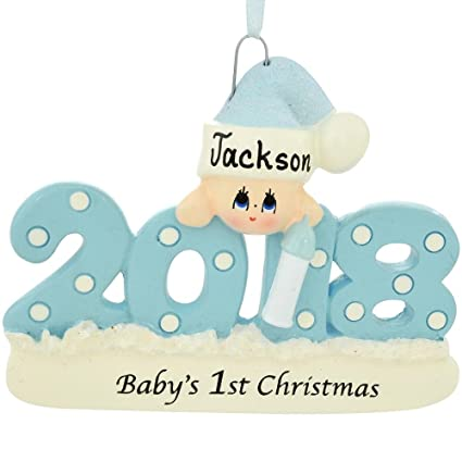 2018 babys 1st christmas ornament personalized blue boy