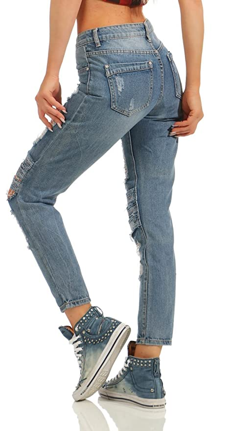 91d97efe892c 10991 Fashion4Young Damen Jeans Hose Regular-Fit Destroyed Cut-Outs Nieten  Risse Damenjeans Ankle  Amazon.de  Bekleidung