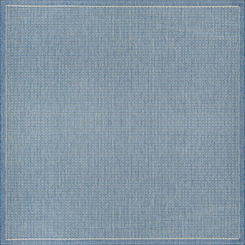 Couristan Recife Saddle Stitch Indoor/Outdoor Area Rug Champagne/Blue, 8'6