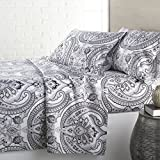 4 Piece Black Grey Classic Paisley Pattern Sheets Cal King Set, Gray White Girly Motif Floral Bedding Bohemian Damask Rich Textured Design, Bold Vintage Style, Bright Colors, Soft Brushed Microfiber