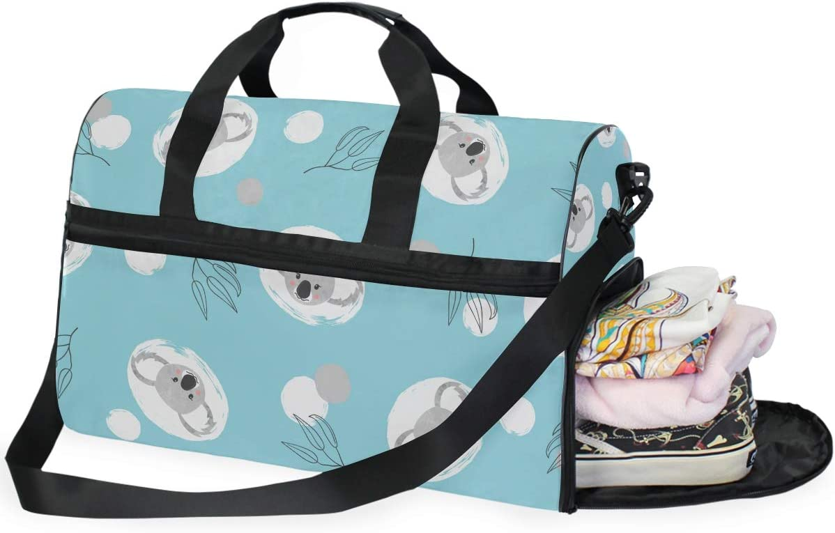 Travel Duffels Cute Koala And Circles On Blue Duffle Bag Luggage Sports Gym for Women /& Men