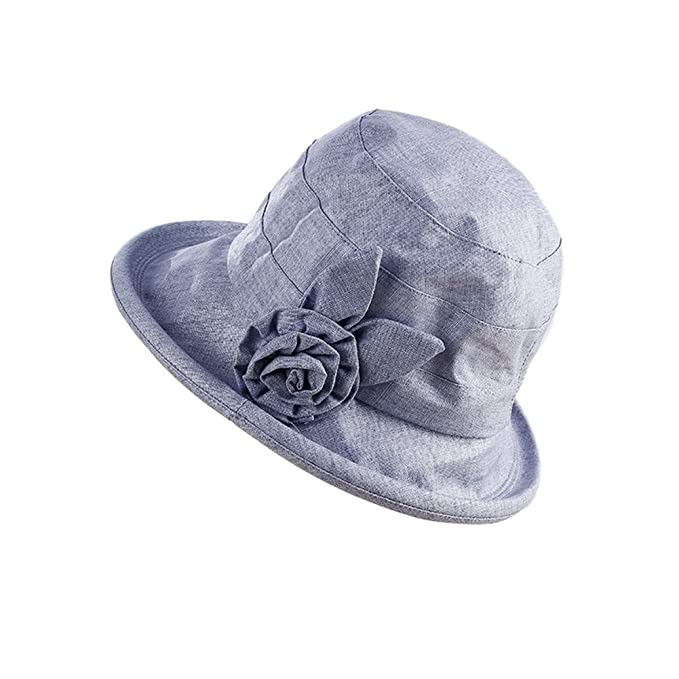 6be69d8136b Image Unavailable. Image not available for. Color  Lothver Fashion Woman  Cotton Linen Cap Flower Sun Hats Summer Anti-UV ...
