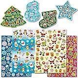 Großpackung mit Weihnachtsaufklebern für Kinder zum Verzieren von Karten und Bastelprojekten (280 Stück)