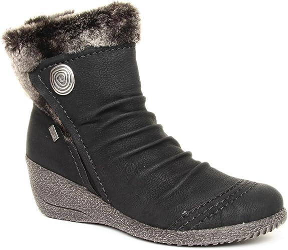 Rieker Ladies Noomi Black Ankle Boots