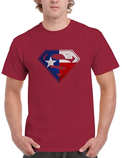 BBT Mens Texas Flag in Superman Logo Tee S Antique Cherry Red 4319cbc42