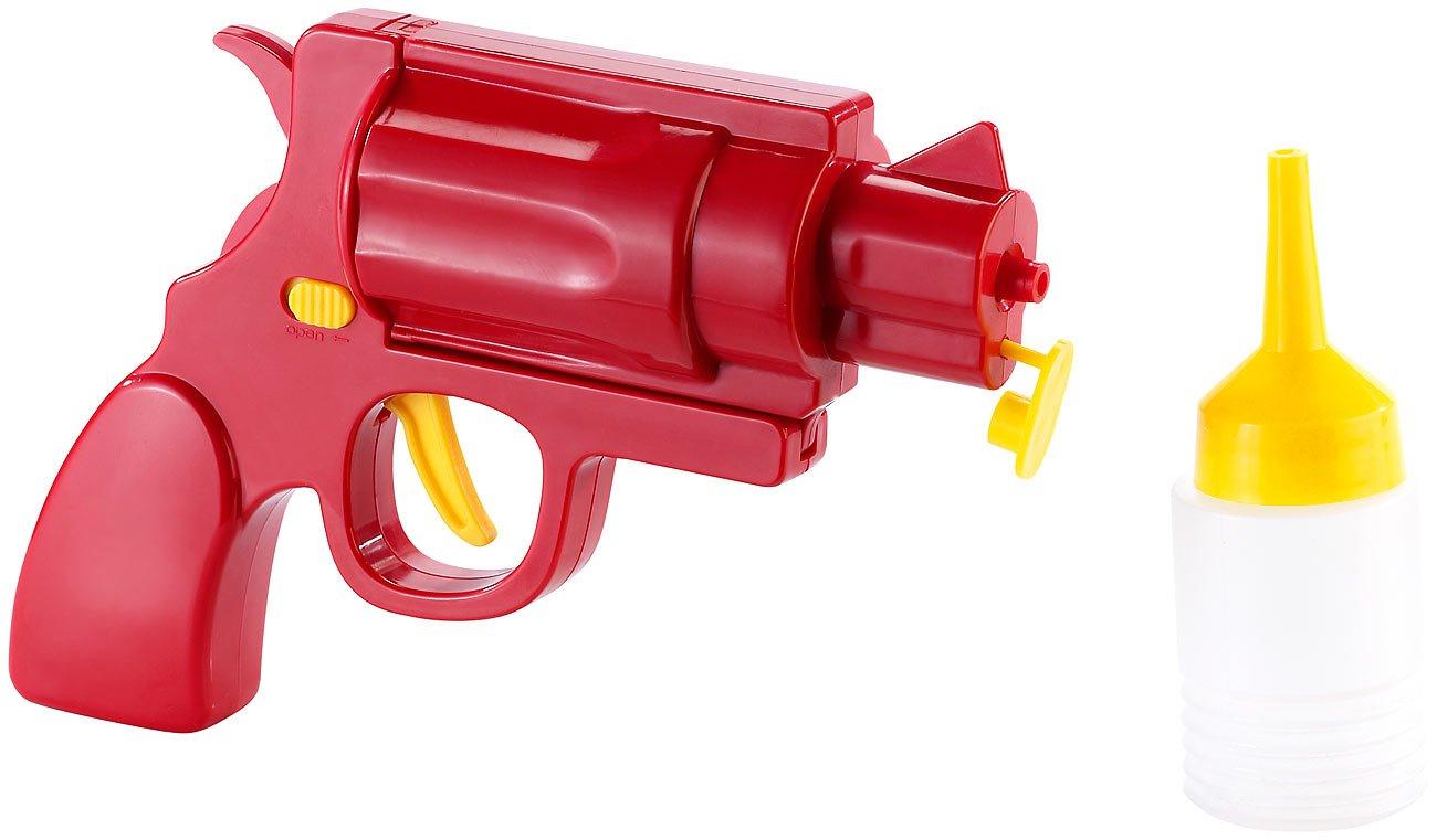 infactory Dosierspender: Ketchup- und Senf-Pistole 2in1 (Saucenspender)