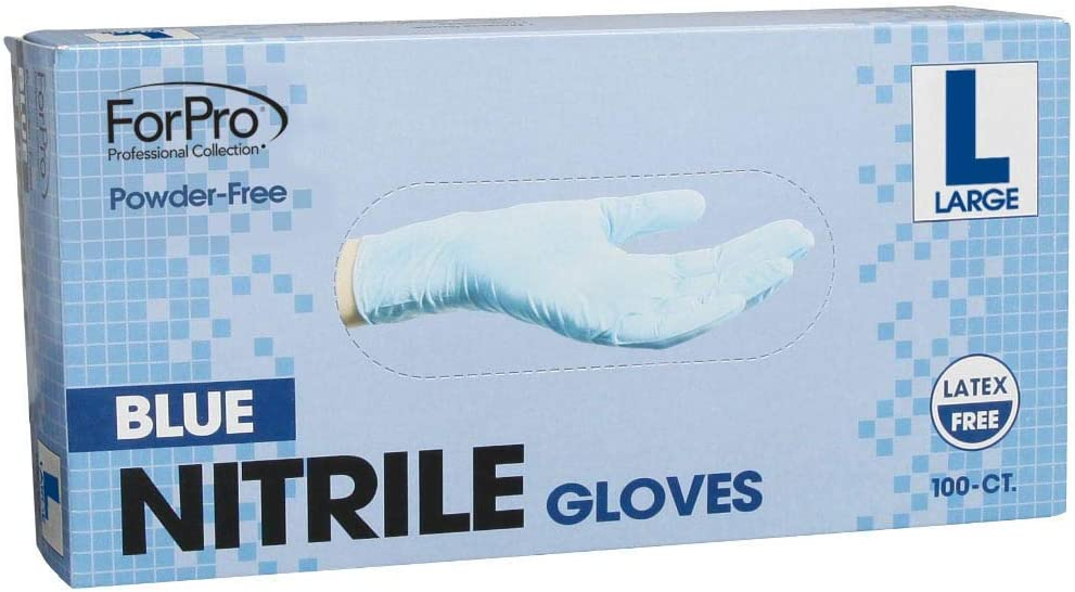 ForPro Blue Nitrile Gloves, Powder-Free, Latex-Free, Non-Sterile, Food Safe, 4 Mil, Large, 100-Count