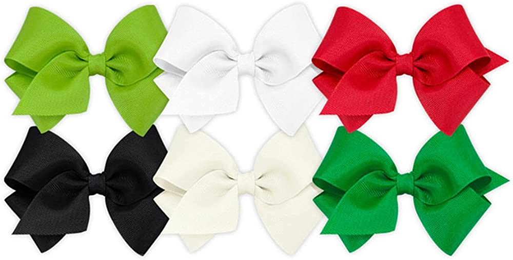 Wee Ones Girls' Small Bow 6 pc Set Solid Grosgrain Variety Pack on a WeeStay Clip