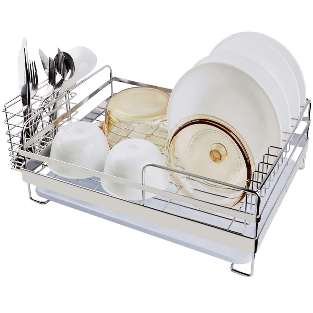 Dish Drying Rack Sink Side, 304 Stainless Steel Dish Rak, Large Capacity Dish Drainer Rack with White Drainboard & Cutlery Holder,17.5'' X 13'' X 5.5'', By SZUAH.
