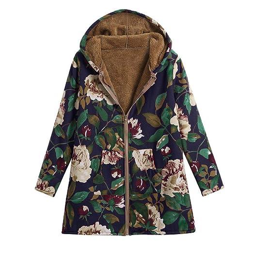 56a0d9714fcd2 Sunfei Plus Size Zipper Women Warm Outwear Vintage Floral Print Hooded  Pockets Oversize Coat