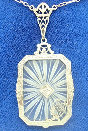 14k Gold Genuine Natural Rock Crystal Filigree Pendant with Tulip (#C2525)