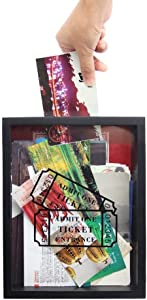 MAGGIFT Memento Storage Boxes,Wooden Stub Shadow Box Tickets, Ticket Memory Box (Black)