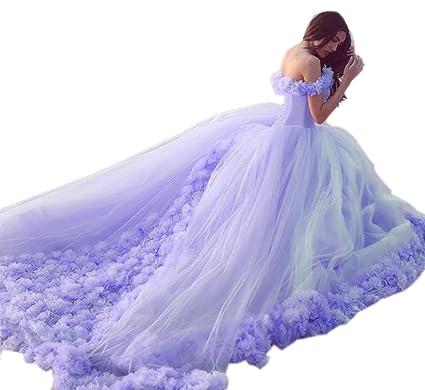 f385fbfcf847 Engerla Women s Off-shoulder Flower Princess Long Quinceanera Dress Prom Gown  Purple Color UK18