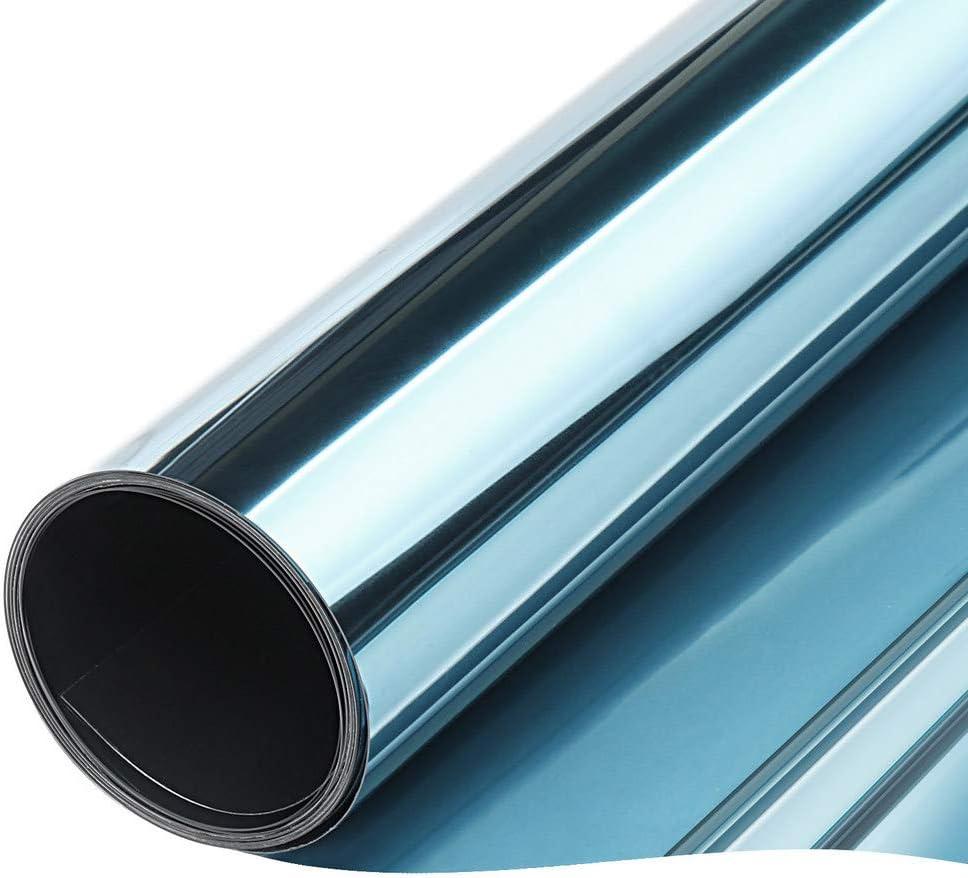 TTMOW Vinilo Pet Película Adhesiva Lámina de Espejo para Ventanas Cristal Unidireccional Protector de Privacidad Anti 99% UV y Anti 85% IR para Hogar y Oficina (Azul y Plata,40 * 200cm)