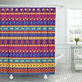 Emvency Brown Southwest Mexican Pattern in Bright Color Scheme Orange American South Aztec Mexico Abstract Africa Waterproof Shower Curtain Curtains 72''X96'' Decorative Bathroom Odorless Eco Friendly