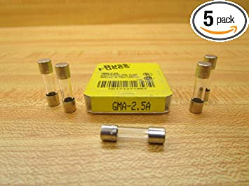 Bussmann GMA-5A 5 Amp Glass Fast Acting Cartridge Fuse 5-Pack 125V UL Listed