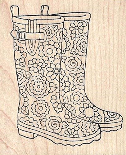 Floral Wellies Rubber Stamp Wood Mounted by Pink Ink 2264J - Wellies Plain