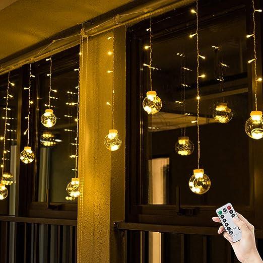 Weihnachtsbeleuchtung Fenster Günstig.Bloomwin Usb Lichtervorhang 3x0 65m 120leds Kugel Lichterkette Warmweiß Weihnachtsbeleuchtung Stimmungslichter Innen Für Fenster Weihnachten Party