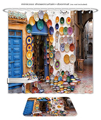 Minicoso Bath Two Piece Suit: Shower Curtains and Bath Rugs Colorful Moroccan Faience Pottery Dishes On Display In An Alley Outside A Shop In The Scenic Shower Curtain and Doormat - In Shop Versace London