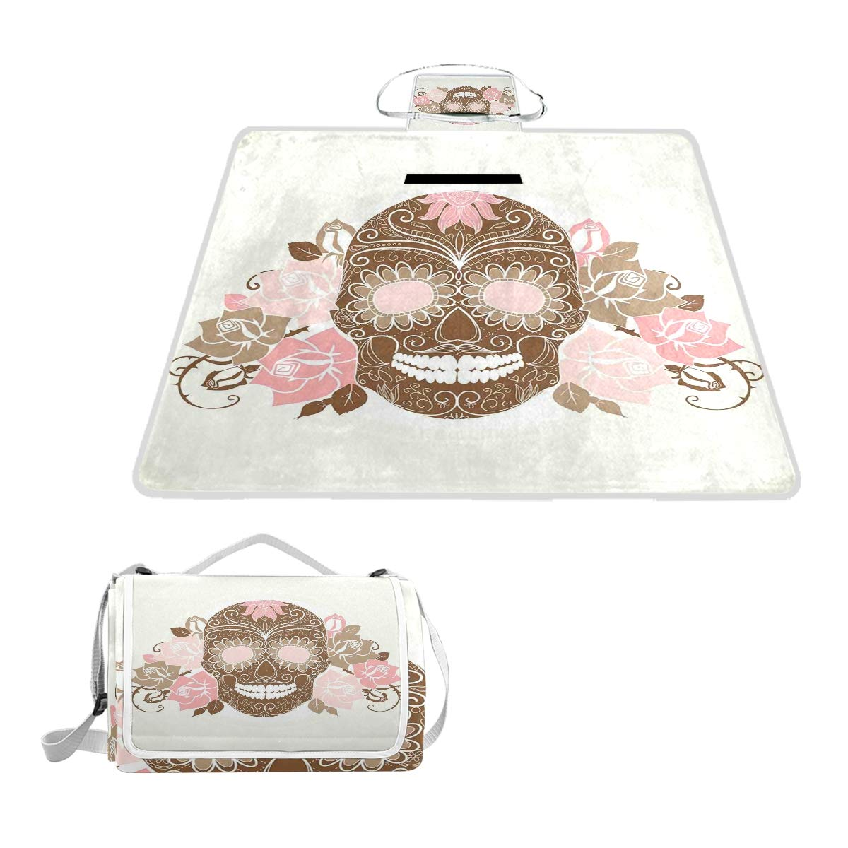 KVMV Sugar Skull Figure with Roses and Thorns in Pastel Colors Picnic Mat Sandproof and Waterproof Outdoor Picnic Blanket for Camping Hiking Beach Grass Travel by KVMV