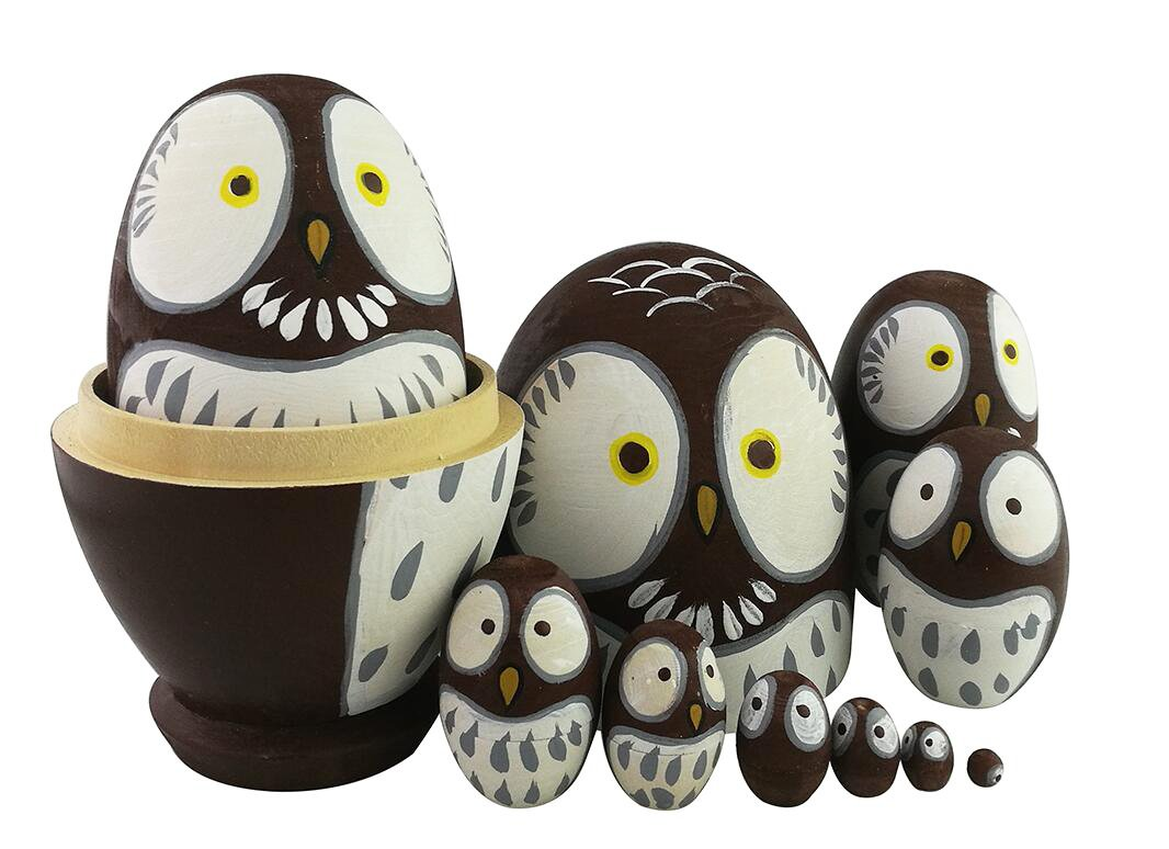 Adorable Lovely Animal Theme Big Round Eyes Brown Wise Owl Egg Shape Wooden Handmade Nesting Dolls Matryoshka Dolls Set 10 Pieces for Kids Toy Birthday Home Kids Room Decoration by Winterworm (Image #6)