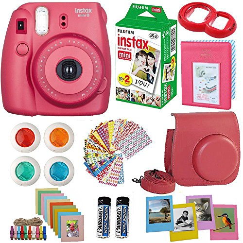 Blue Mirro Lens - FujiFilm Instax Mini 8 Instant Film Camera Raspberry + Instax Mini Film Twin Pack (20 Sheets) + PU leather Case + Frames + Album + 4 Color Filters + Selfie Mirro And More 9 in1 Top Accessories Bundle