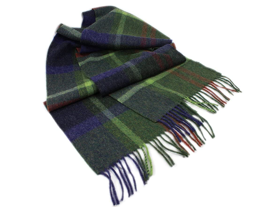 "Plaid Wool Scarf Extra Long 100% Wool 10"" x 80"" Made in Ireland John Hanly & Co."
