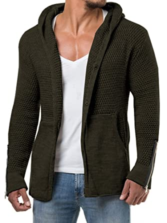 534134430c17 Makkrom Mens Casual Button up Knitted Hooded Cardigan Sweaters Long Sleeve  Plain Knitwear with Pockets at Amazon Men s Clothing store