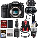 Sony Alpha A77 II Wi-Fi Digital SLR Camera Body with 18-135mm & 70-300mm Lenses + 64GB Card + Battery + Charger + Backpack + Flash + Kit For Sale