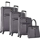 Ninewest an Adventure 4 Piece Luggage Set, Grey/Black