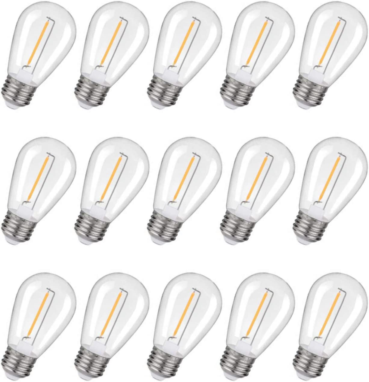Shatterproof &Waterproof LED S14 String Light Replacement Bulbs, E26 Base Edison Bulbs Equivalent to 11 W, Fits for Commercial Outdoor Patio Garden Vintage Lights, 2200K Warm White(15 Pack)