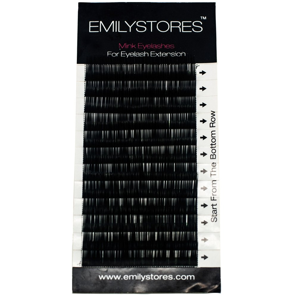 EMILYSTORES Eyebrow Eyelash Extensions Under Lower False Lashes Mixed J Curl 0.10mm Length 5mm 6mm 7mm 8mm In One Tray