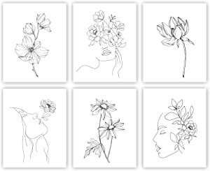 Unframed 8X10 Set of 6 Abstract Minimalist Wall Art Line Drawing Woman Face with Flower Palm Watercolor Art Print Inspirational Wall Art for Kids Room Nursery Decor wgn214