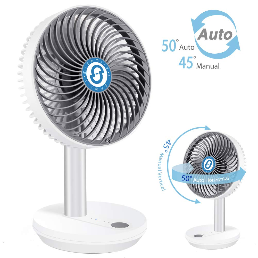 ESHMILY Desk Fan 4 Speed Quiet USB Fan for Sleep, 50° Auto Widespread Oscillation 25h Battery Time Mini Table Cooling Fan for Home Office Camping by ESHMILY